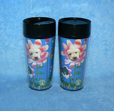 2 STARBUCKS COFFEE THERMO-SERV 16oz BEST FRIEND PLASTIC TO-GO TRAVEL TUMBLERS
