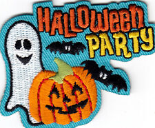 """""""PUMPKIN PARTY"""" IRON ON EMBROIDERED PATCH- HALLOWEEN - AUTUMN -  SCARY - FUN"""