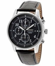 Seiko Men's SNDC33 Classic Black Calf Leather Black Chronograph Dial Watch
