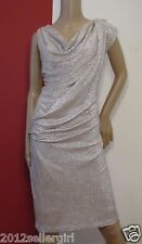MAGGY LONDON GOLD/SILVER METALLIC CRINKLE KNEE COCKTAIL FORMAL GODDESS DRESS 14