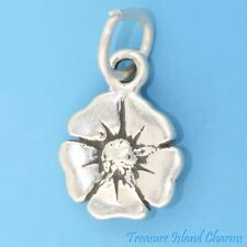 POPPY FLOWER .925 Solid Sterling Silver Charm NEW