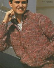 "1766 MANS BOYS CHUNKY ZIPPED JACKET 30-46"" 76-117cm  VINTAGE KNITTING PATTERN"
