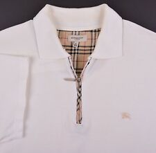 ICONIC Burberry London Cream Pique Cotton NOVA CHECK Zip Polo Shirt XXL / 6