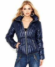 $200 New GUESS Down Quilted Puffer Jacket Coat Size Large Indigo