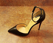 Christian Louboutin 'Halte' Strap Pump Black Leather Womens 4.5 US 35 Eur. $845