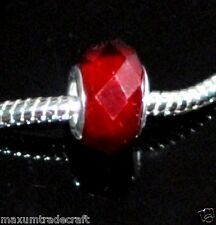 10pcs dark red crystal glass charm beads fit European snake chain