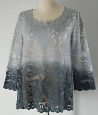 Anthropologie Meadow Rue Caela Gray Ombre Lace Blouse Tunic Top M Medium