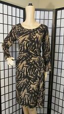 ANNE KLEIN M BROWN TAN BLACK ABSTRACT WRAP DRESS CAREER SEXY STRETCH WIGGLE WORK