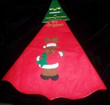 NEW NWT RED CHRISTMAS TREE SKIRT 38 inch gold embroidery REINDEER SANTA SUIT WOW
