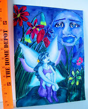 LP17 (F3) Lovely Fantasy Outsider Art Painting Before Bed Fairy Signed Dana