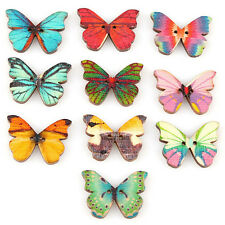50X Mixed Color Butterfly Insect Wooden Buttons 2 Holes Scrapbooking EW