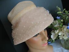 Netting Over Tulle - Chic 1950's Vintage Women's Hat - Pale Pink size 23
