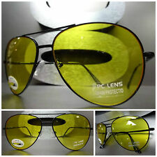 NEW DAY or NIGHT SHOOTING HUNTING DRIVING Yellow Lens AVIATOR SUN GLASSES Black