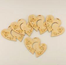 5 Doppelherzen mit Tribal 9cm aus Holz tolle Dekoration für Hochzeit