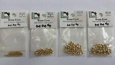 """HARELINE  DUMBBELL BRASS  EYES """"GOLD"""" 4 size X-S . SM , MED , LG 20 per pack"""