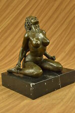 HIGHLY EROTIC NUDE GIRL MASTURBATING BRONZE SCULPTURE STATUE FIGURE FIGURINE ART