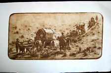 """Signed Nevada Artist Roy Purcell Ltd. Ed 6/150 Etching """"On The Mormon Trail"""""""