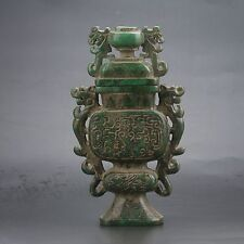 Antique 100% Natural Old Jade Handwork Carved Dragon Incense Burner Censer Rare