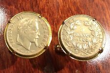 1865 French Empire Napoleon III France 5 Francs Gold Tone Coin Cufflinks + Box!