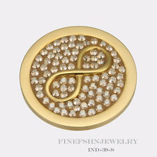 Authentic Mi Moneda Stud Gold Plated Infinito Caramel Disc IND-39-S