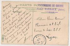 PRISONNIERS DE GUERRE FORT BARRAUX Isère sur carte en FM.