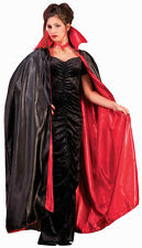 "56"" Deluxe Reversible Cape Vampire Black Red Fabric Halloween Costume Accessory"
