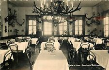Germany Thale a. Harz Berghotel Restaurant interior Rosstrappe deer horns lamps