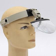 4 Lens Headband Headset LED Light Magnifier Magnifying Loupe 2x 3.5x 4.5x 5.5x