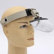 4 Lens Headband Headset LED Light Magnifier Magnifying Loupe 2x 3.5x 4.5x 5.5x