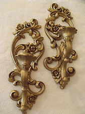 """Candle Wall Sconces Syroco Floral Gold Hollywood Regency Chic 5""""x15"""" Vtg Pr '71"""