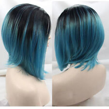 "12"" Bob Straight Lace Front Wig Heat Resistant Ombre 1B/Teal Blue"