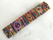 Czech GLASS Bead MUTLI-COLOR BRIGHTS Bracelet Cuff Bangle Shamballa Guatemala