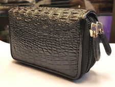 Coin Bags Purses Crocodile Alligator Skin Leather Black Men's Wallets Genuine