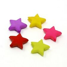 50 x Mixed Star Acrylic Spacer Beads - 14mm - L19424