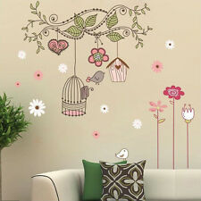 Happy Bird Cage Tree DIY Removable Wall Stickers Wall Sticker  Bedroom Home Deco