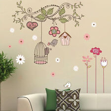 Removable Happy Bird Cage Tree Wall Stickers Bedroom Wall Sticker Home Decor