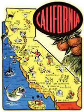 California   Cartoon Map    Vintage-1950's Style   Travel Sticker/Decal