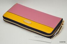 Nib Tahari Patent Large Zip-Around Wallet Purse Organizer Cluch ~Pink/Yellow