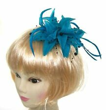 teal fascinator clip with black beads