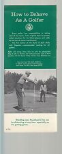 How to Behave as a Golfer 1963 Golf Journal Leaflet