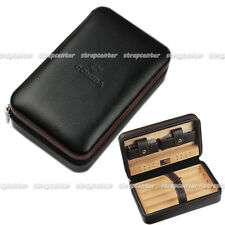 New COHIBA Real Leather Zipper Travel Cigar Case Humidor With Lighter Cutter Set