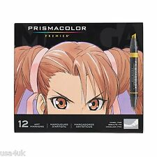 Prismacolor Premier 12 MANGA Double Ended Art Markers, Chisel & Fine Tip NEW!