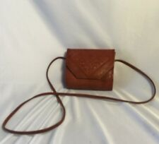 VINTAGE 1960'S MOROCCAN MAGIC Hand TOOLED LEATHER Purse CrossBody LONG STRAP
