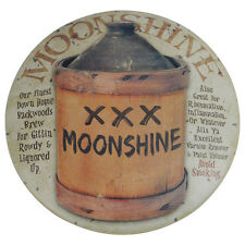 Primitive Moonshine Jug Round Dome Button Tin Sign Bar/Pub Wall Hillbilly Decor