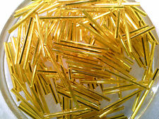 VTG 500 GOLDEN YELLOW SILVER LINED 30mm BUGLE BEADS FRINGE ORNAMENTS #121811c