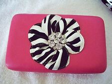 Zebra Western Rhinestone Concho Pink WOMEN WALLET PURSE CLUTCH BAG CARD CASE