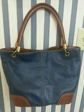 Tignanello Pebbled Leather Navy Blue Brown Tote Bag Purse