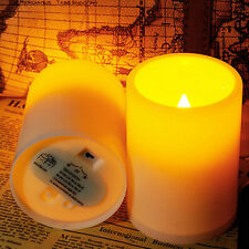 X2 Flickering LED Candles Flameless Operated Resin Candles with Timer Pillar