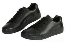 NEW PRADA MEN'S BLACK LEATHER DERBY-STYLE CASUAL LACE UP SNEAKERS SHOES 8.5/9.5