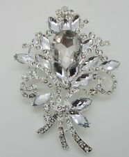 LARGE SILVER CRYSTAL BOUQUET VINTAGE BROOCH,CAKE,WEDDING, BOUQUET,SCARF,GIFT